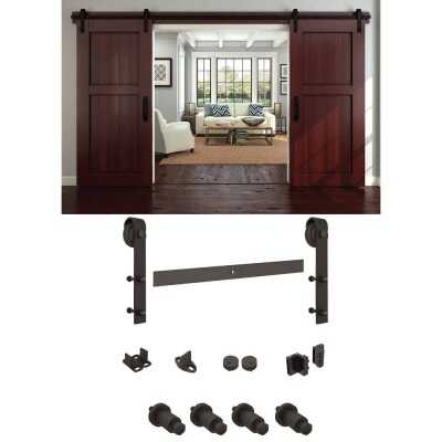 National Oil Rubbed Bronze Steel Up to 200 Lb. Barn Door Track Hardware Kit