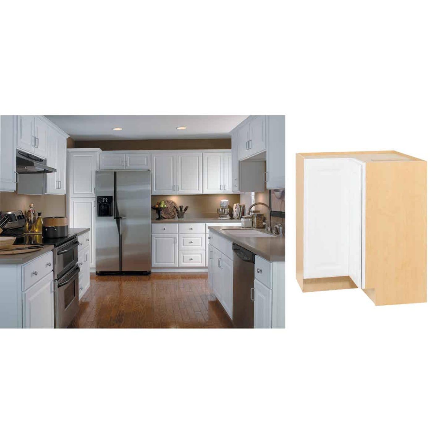 Continental Cabinets Hamilton 36 In W X 34 1 2 In H X 24 In D Satin White Maple Lazy Susan Corner Base Kitchen Cabinet Valu Home Centers For The Do It Yourselfer In You