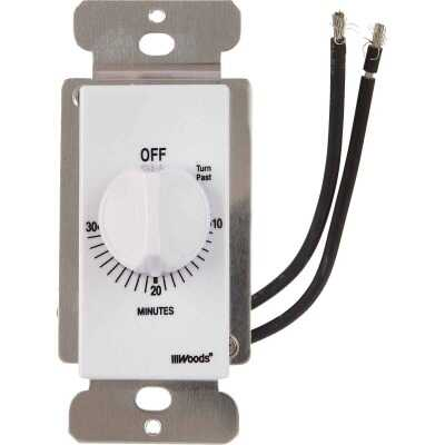 Woods 125V In-Wall 30-Minute Spring Wound White Timer