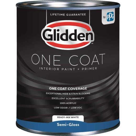 Glidden One Coat Interior Paint + Primer Semi-Gloss Ready Mix White Quart