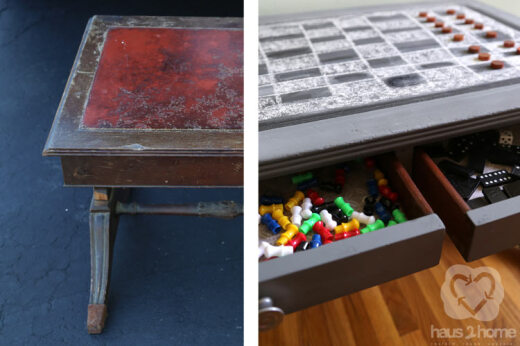 Before and after of restored table